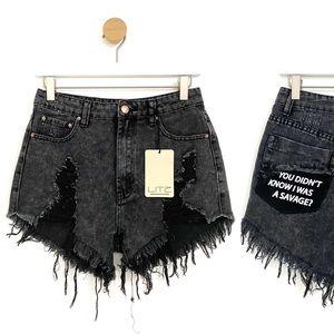 Litz NWT Black Acid Wash Distressed SAVAGE Shorts